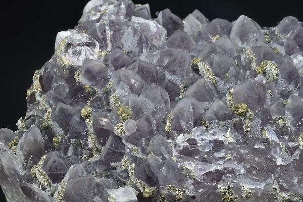 Quartz var.Amethyst, Pyrite, Chalcopyrite